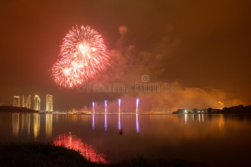 Putrajaya International Fireworks Competition 2013. The fireworks presentation by a group from Korea in conjunction with the Putrajaya International Fireworks stock photo