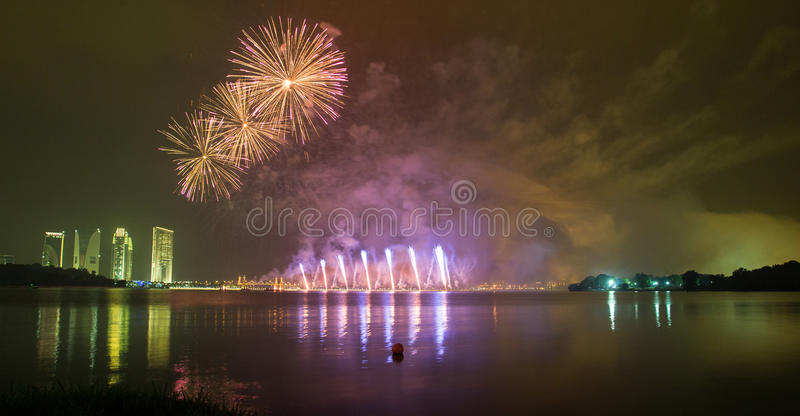 Putrajaya International Fireworks Competition 2013. The fireworks presentation by a group from Korea in conjunction with the Putrajaya International Fireworks royalty free stock image