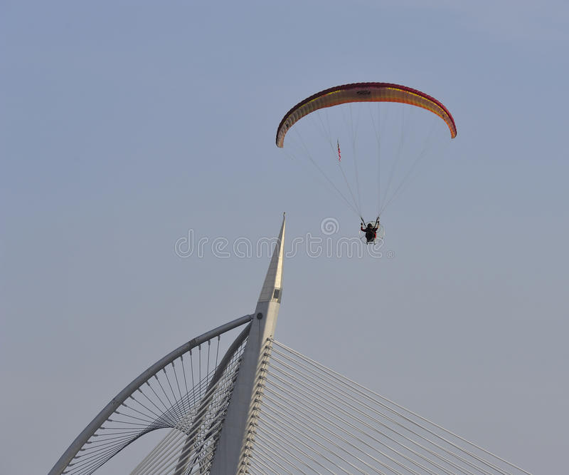 Paramotor Squad Flying During 5th Putrajaya International Hot Air Balloon Fiesta 2013 Editorial Photography