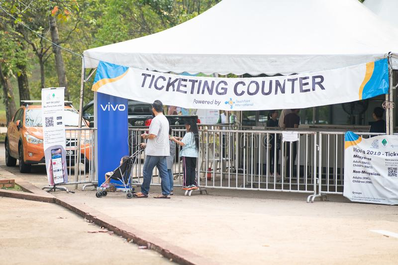 Putrajaya, Malaysia - September 6, 2019: The ticketing counter booth at the annual Royal Floria Putrajaya 2019 festival royalty free stock photos