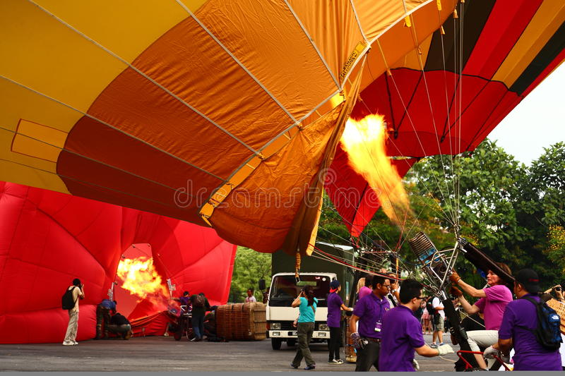 Ready to Float. Putrajaya's Hot Air Balloon Fiesta 2013 (28-31 March 2013). A yearly event that attracted focal and international spectators. This year stock images