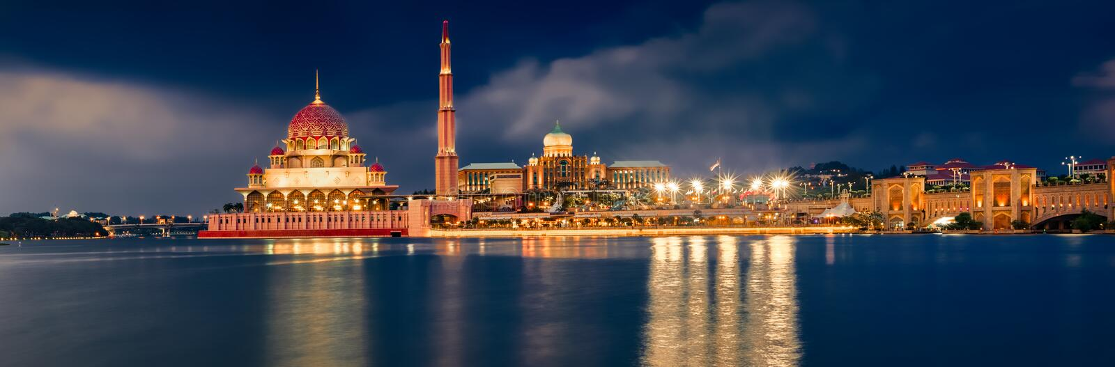 Putrajaya skyline at night. Amazing view of Putra mosque. Panorama. Putrajaya skyline. Amazing view of Putra mosque, Perdana Putra and Putra bridge at night time stock photos