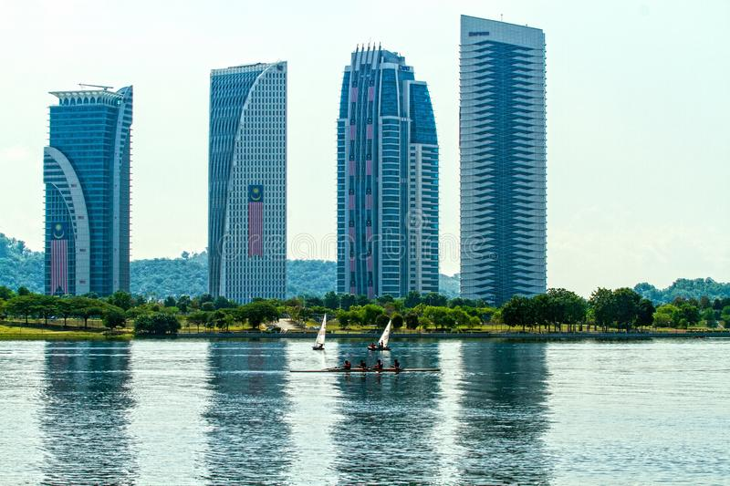 PUTRAJAYA WATER SPORTS COMPLEX - PUTRAJAYA. Putrajaya`s popularity among water sports enthusiasts can be attributed to the modern sporting facilities that are stock photo