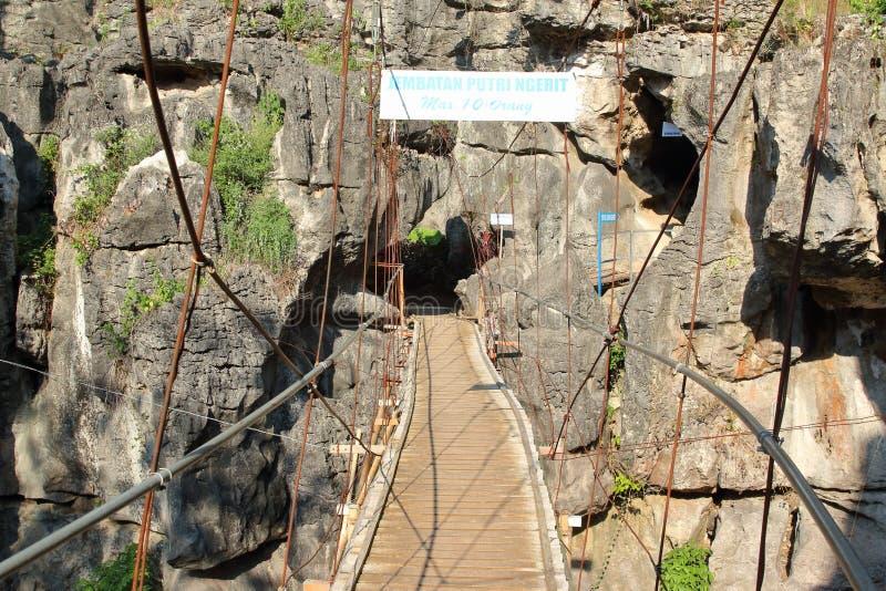 Putri Ngerit Bridge, Trenggalek East Java, Indonesia. Suspension bridge Putri Ngerit and rock formation at Nature tourism object in Trenggalek, East Java stock images