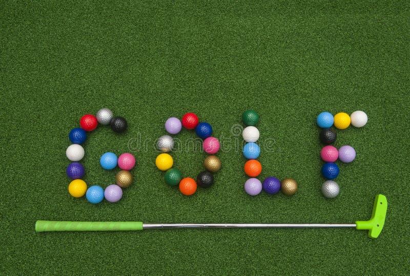 Putt Putt Balls Spell Golf stock photo