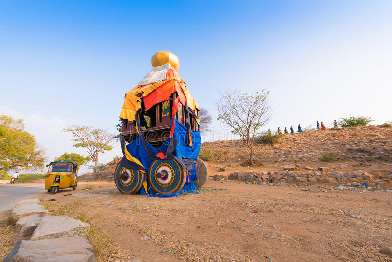 PUTTAPARTHI, ANDHRA PRADESH - INDIA - NOVEMBER 09, 2016: Indian chariot for Hindu holidays. Copy space for text. stock photos