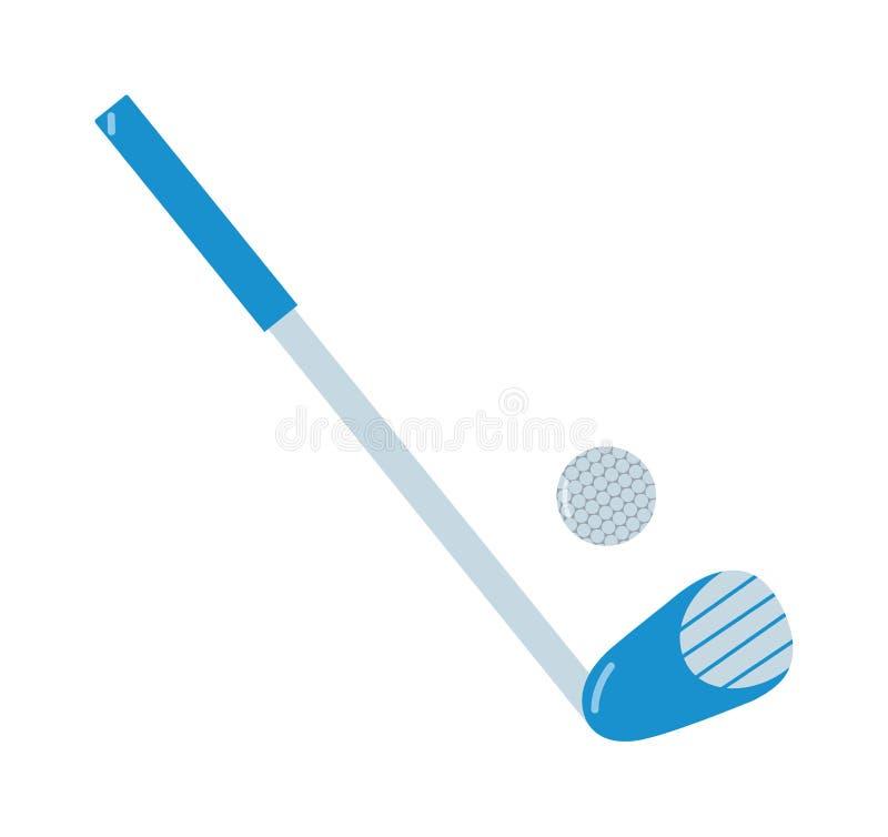 Putter e palla da golf di golf su fondo bianco illustrazione vettoriale