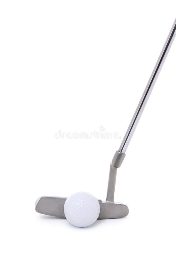 Putter et boule de golf sur le blanc photographie stock