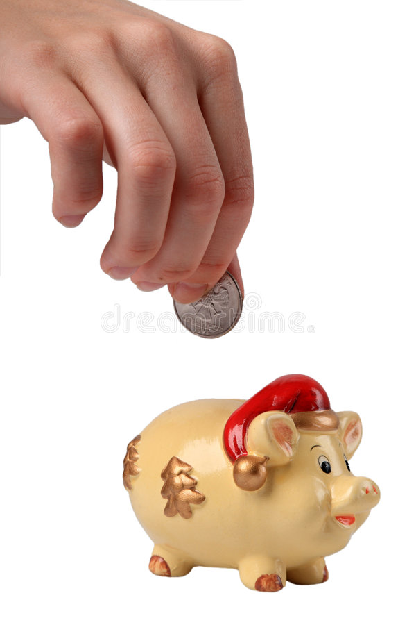 Download Putting coin in piggy bank stock photo. Image of caucasian - 5471606