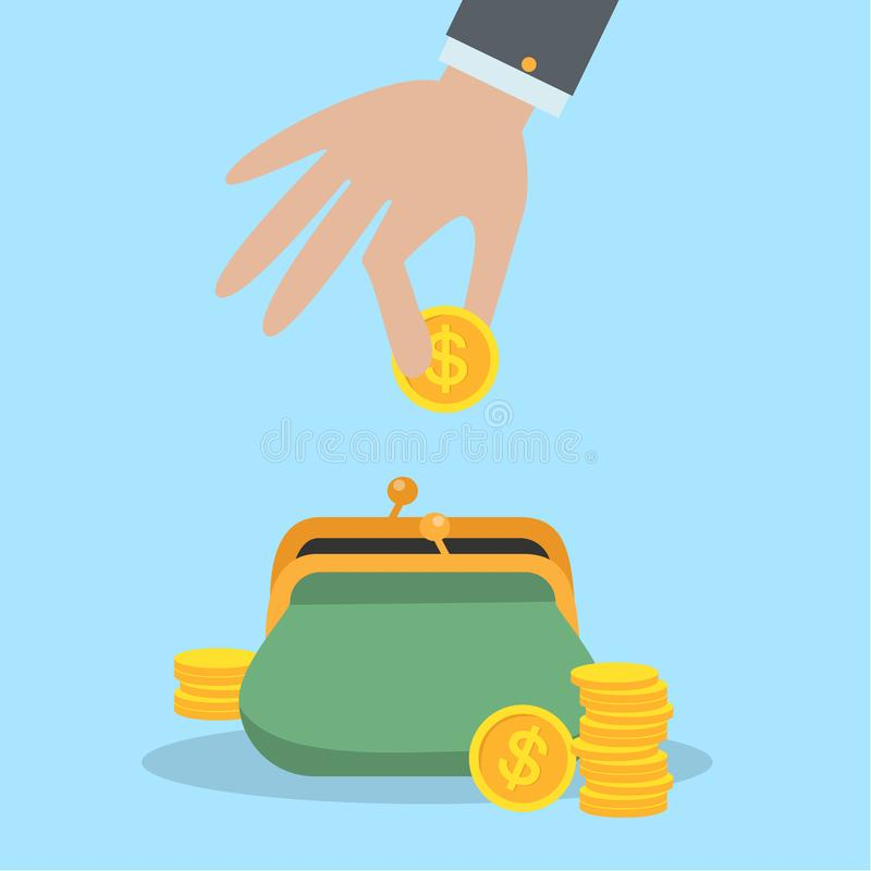 Putting coins in purse. royalty free illustration