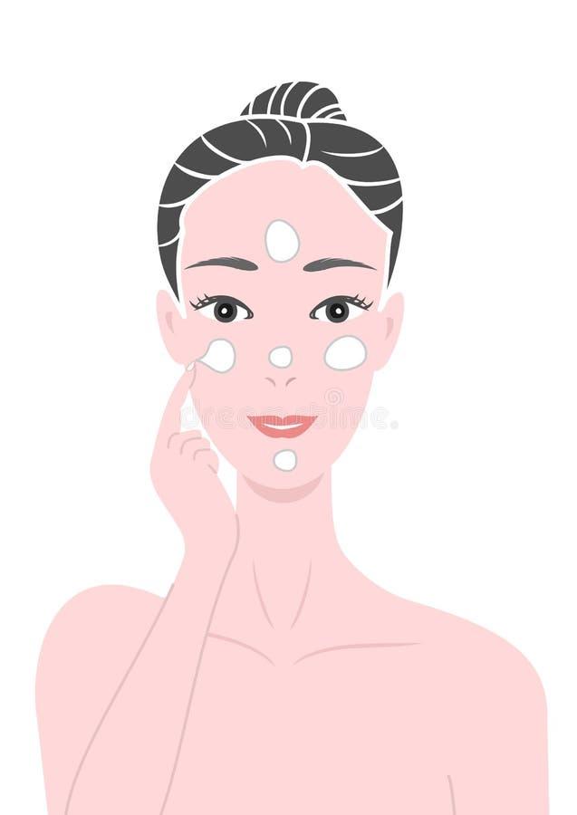Putting creams. A beautiful woman putting creams on face