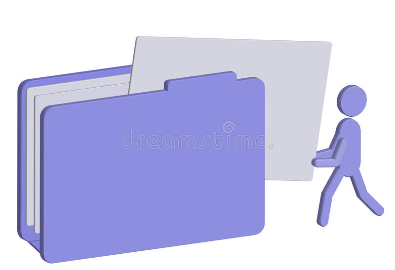 Putting files to a folder 3d stock illustration