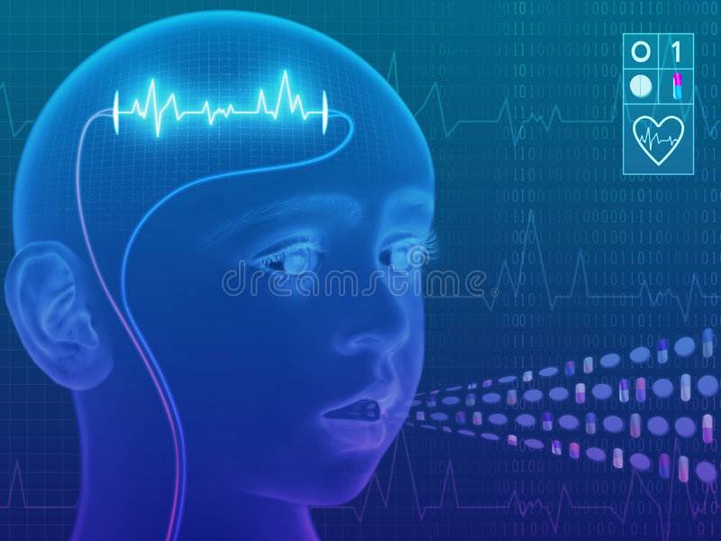 Putting Life Into. A technological Health Saving concept illustration of a child's head, superimposed over graph lines and binary code. Tablets and capsules have