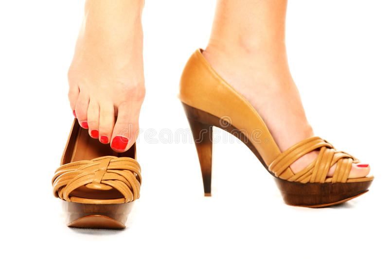Download Putting on shoes stock photo. Image of bright, customer - 18285022