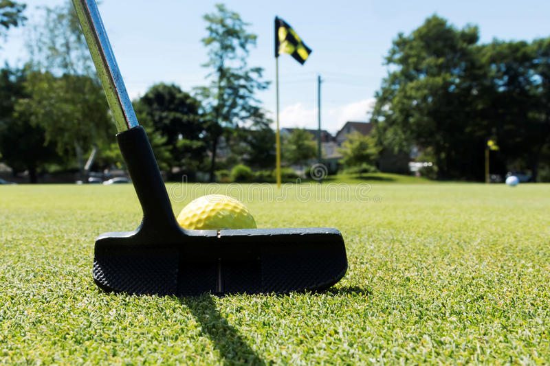 Putting a yellow ball on a practice green royalty free stock photo