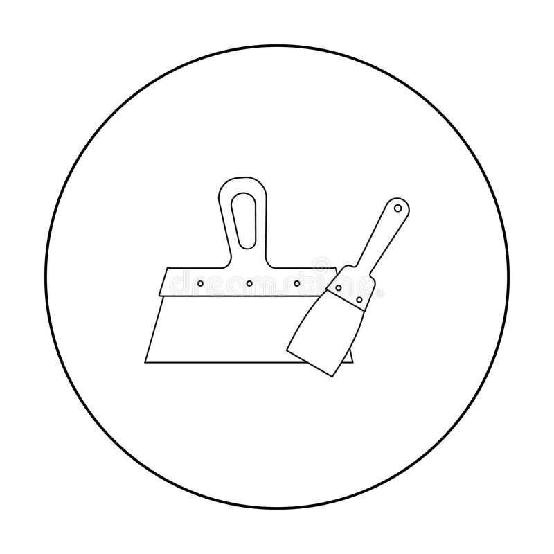Putty knives icon in outline style isolated on white background. Build and repair symbol stock vector illustration. Putty knives icon in outline style isolated vector illustration