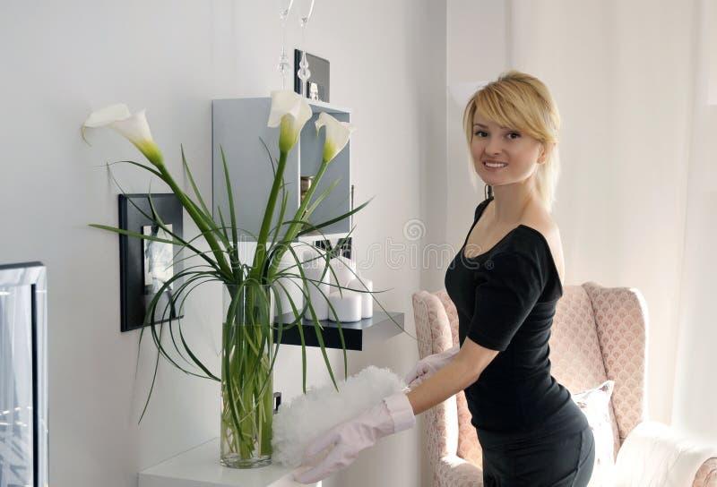 Putzfrau Staub saugt Couch stockfoto. Bild von chores