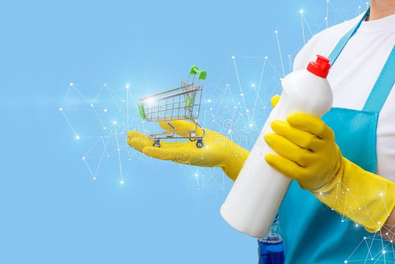 Putzfrau zeigt die Warenkorb- und Reinigungsprodukte lizenzfreie stockfotografie