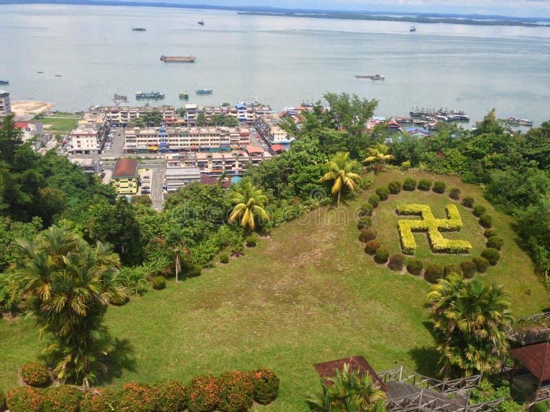 Puu Jih Shih świątynia jest Buddyjskim świątynią lokalizować przy szczytem Tanah Merah przy Sandakan zatoką w Sandakan, Sabah, Ma obrazy stock