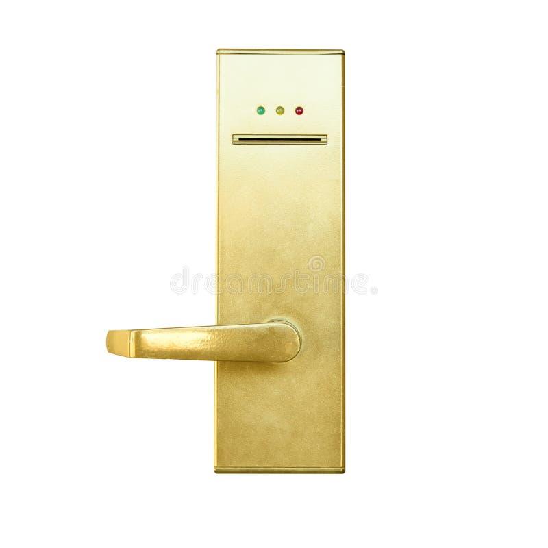 Puxador da porta moderno com o fechamento de sistema da segurança isolado em b branco imagem de stock royalty free