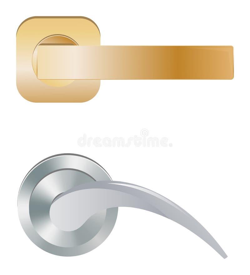 Puxador do vetor do puxador da porta para travar em casa portas e maçaneta de porta do metal no grupo interior da ilustração da c ilustração stock