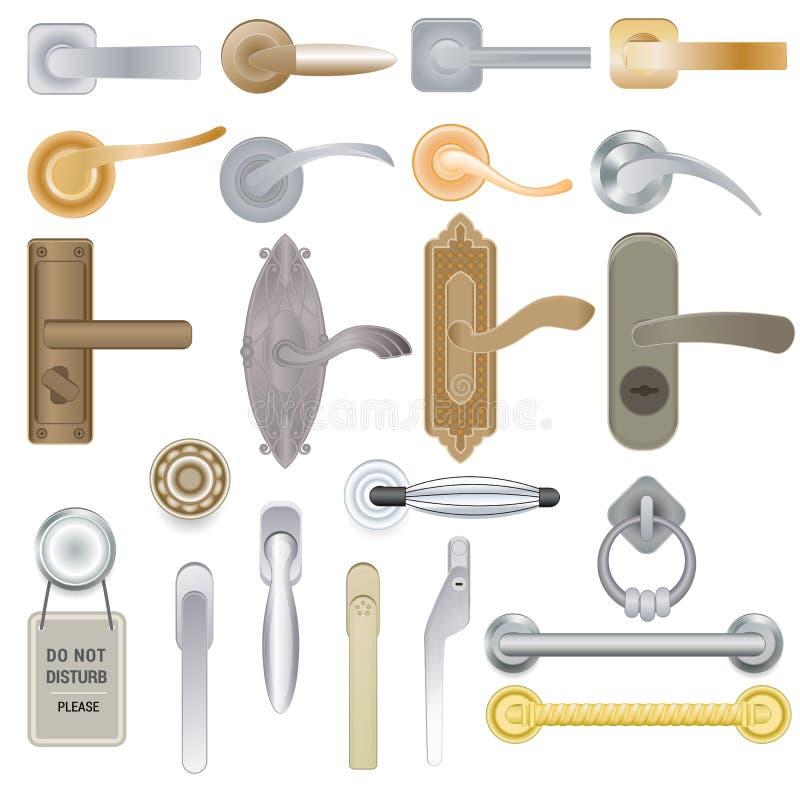 Puxador do vetor do puxador da porta para travar em casa portas e maçaneta de porta do metal no grupo interior da ilustração da c ilustração do vetor