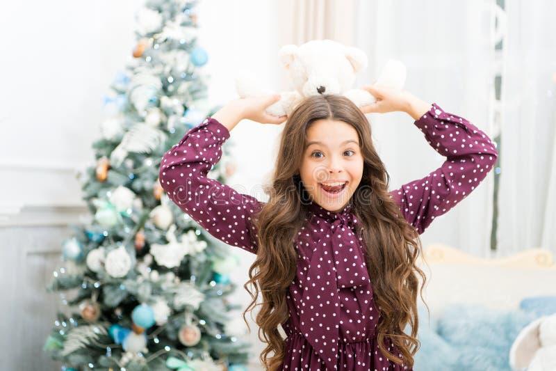 Puxando a árvore de Natal Inverno A manhã antes do Xmas Ano novo feliz Compra do Natal, idéia para seu projeto Menina bonito da c imagens de stock