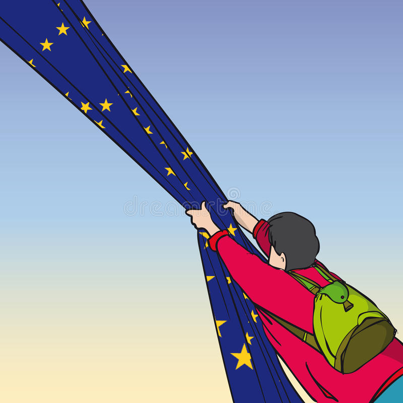 Puxando a UE ilustração do vetor