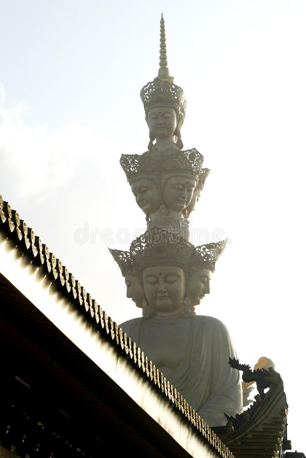 Puxian buddha at the top of emei mountain stock image