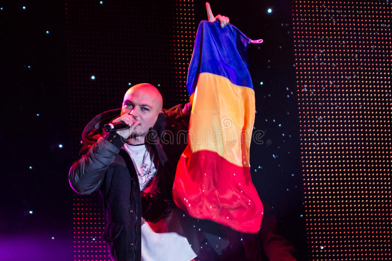 Puya (Dragoș Gărdescu). Puya, Romanian rapper at New Years Eve 2014 concert organized by District 3, Bucharest stock image