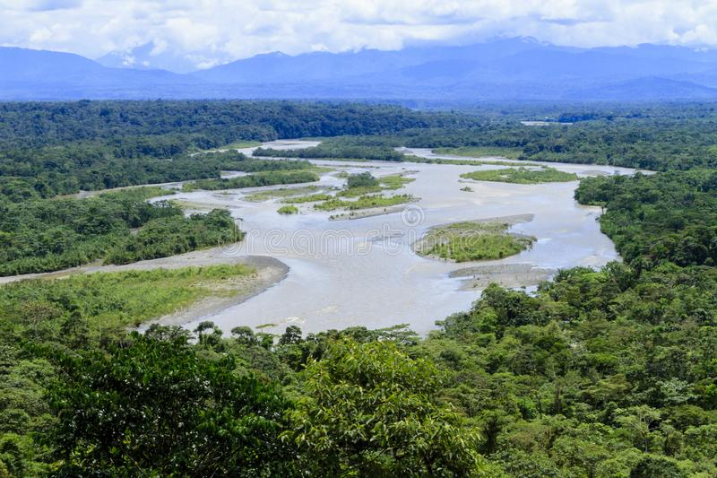 Puyo river landscape on a cloudy day royalty free stock photo
