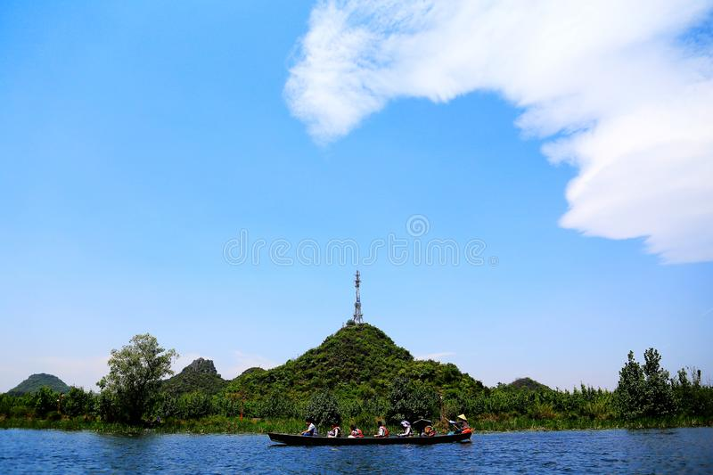 Puzhihe Scenic Area ,a typical karst landform. Puzhihe Scenic Area is a typical karst landform, which is famous for its six landscapes: water garden, Lake peak stock image