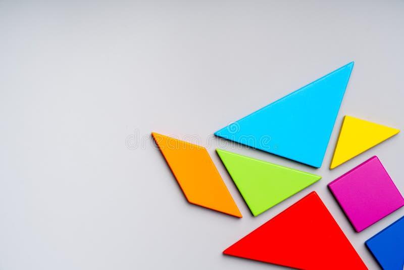 Puzle speeltje voor Kid in concept van creatief onderwijs in platte lay royalty-vrije stock foto