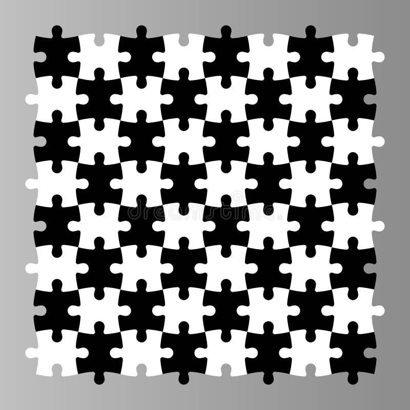 Puzzel naadloze achtergrond Het mozaïek van zwart-witte stukken kijkt als schaakbureau Eenvoudige vlakke vector royalty-vrije illustratie