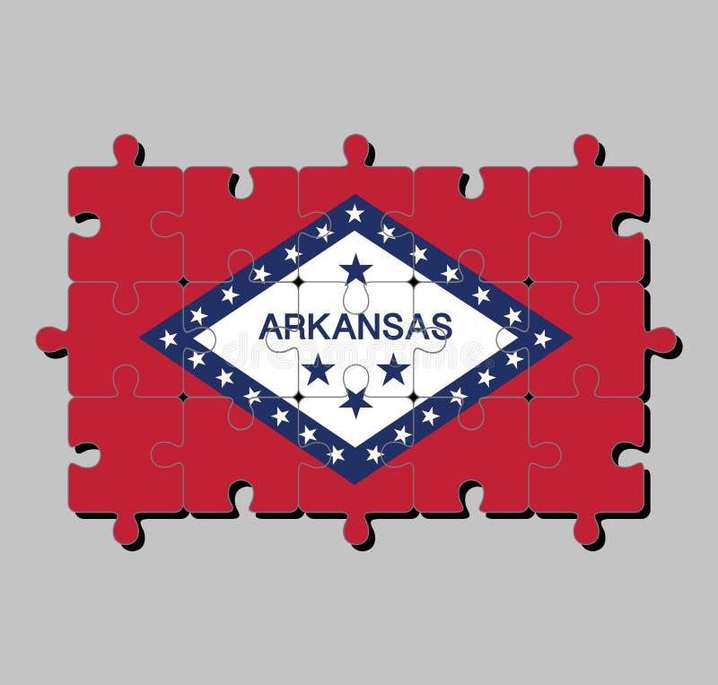 Puzzel van de vlag van Arkansas op een gebied van rode en witte die diamant, door blauw en het woord 'Arkansas en sterren wordt g vector illustratie