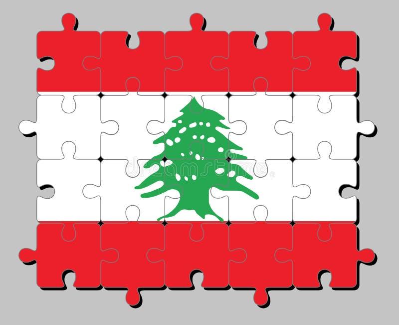 Puzzel van de vlag van Libanon in triband van rood en wit, met een groene Ceder die van Libanon wordt belast royalty-vrije illustratie