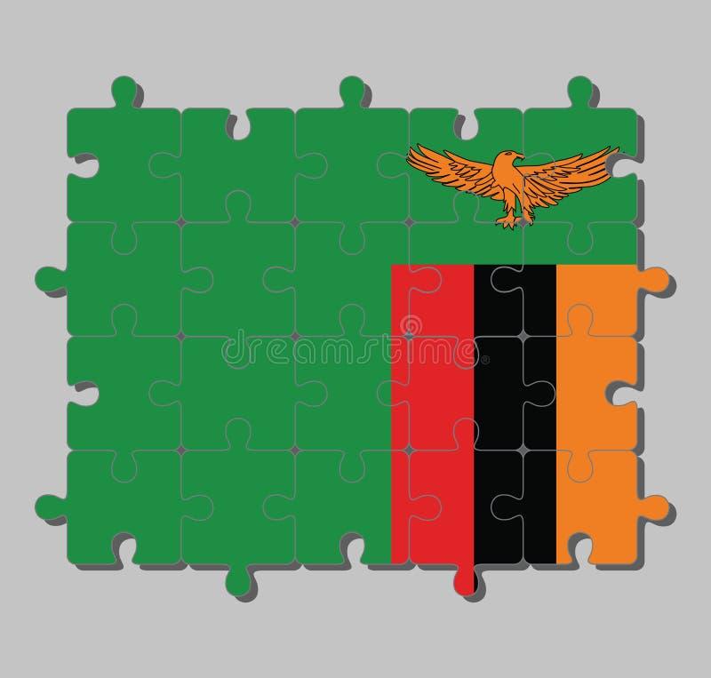 Puzzel van de vlag van Zambia op een groen gebied met een oranje adelaar tijdens de vlucht over een rechthoekig blok van rode zwa stock illustratie