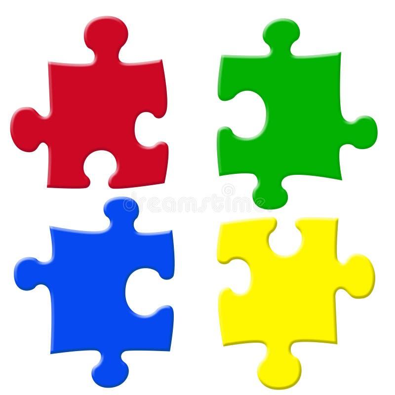 Puzzels básicos das cores ilustração royalty free