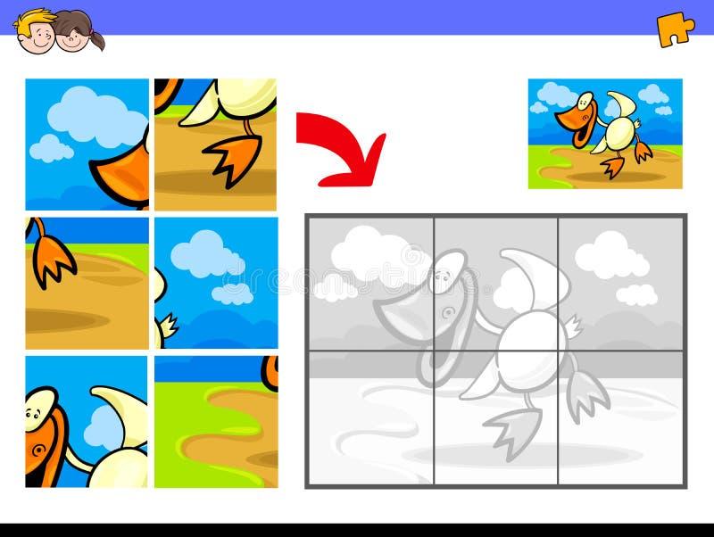 Puzzels met het landbouwbedrijfdier van de eendvogel stock illustratie