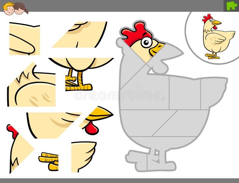 Puzzelspel met de vogeldier van het kippenlandbouwbedrijf vector illustratie