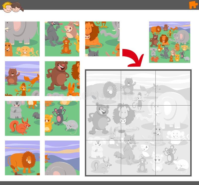 Puzzelspel met dierlijke karakters royalty-vrije illustratie