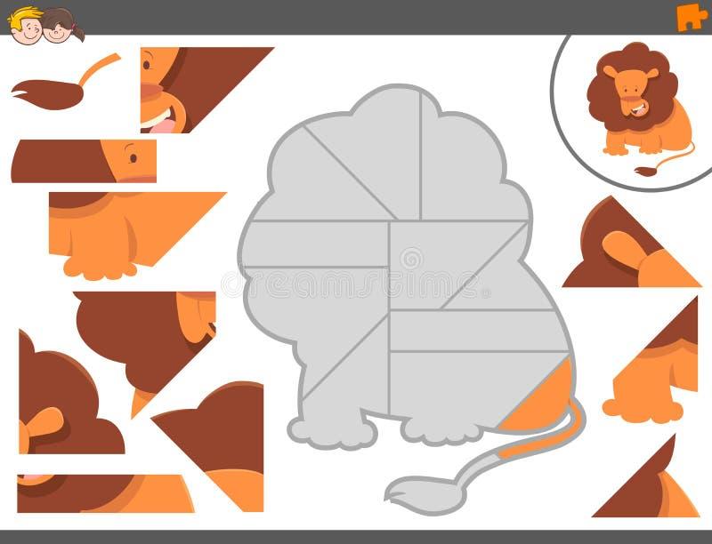 Puzzelspel met leeuwdier vector illustratie