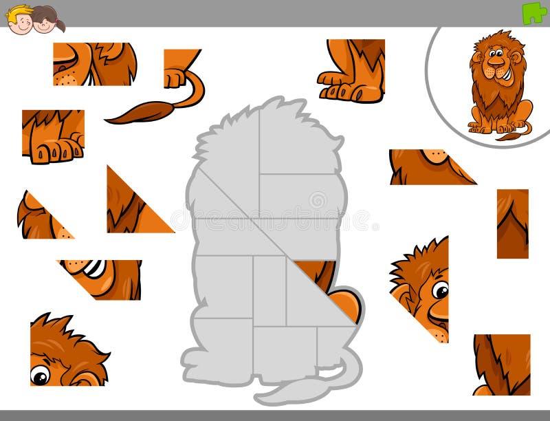 Puzzelspel met leeuwdier royalty-vrije illustratie