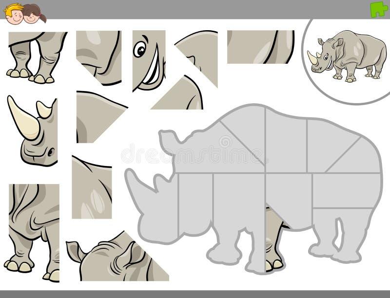 Puzzelspel met rinocerosdier vector illustratie
