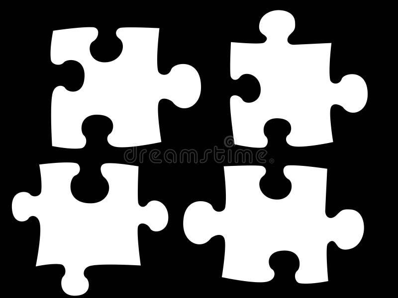 Puzzle. White puzzle on black background royalty free illustration