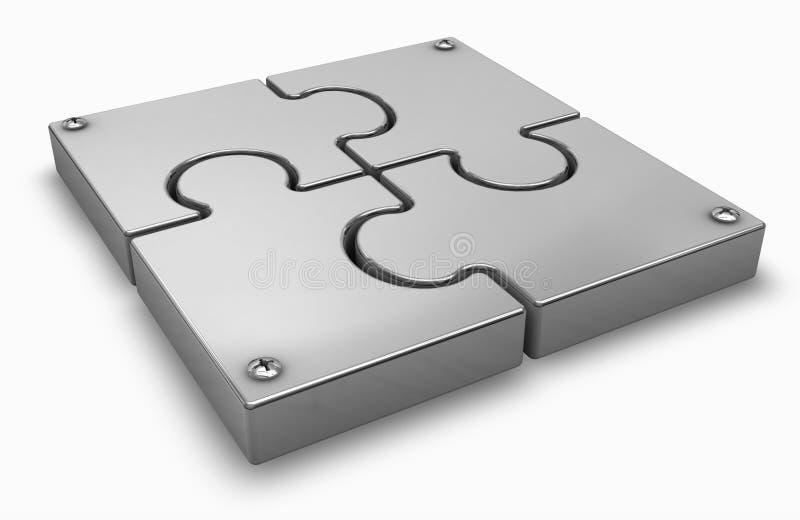 Puzzle. Chrome puzzle on a white stock illustration