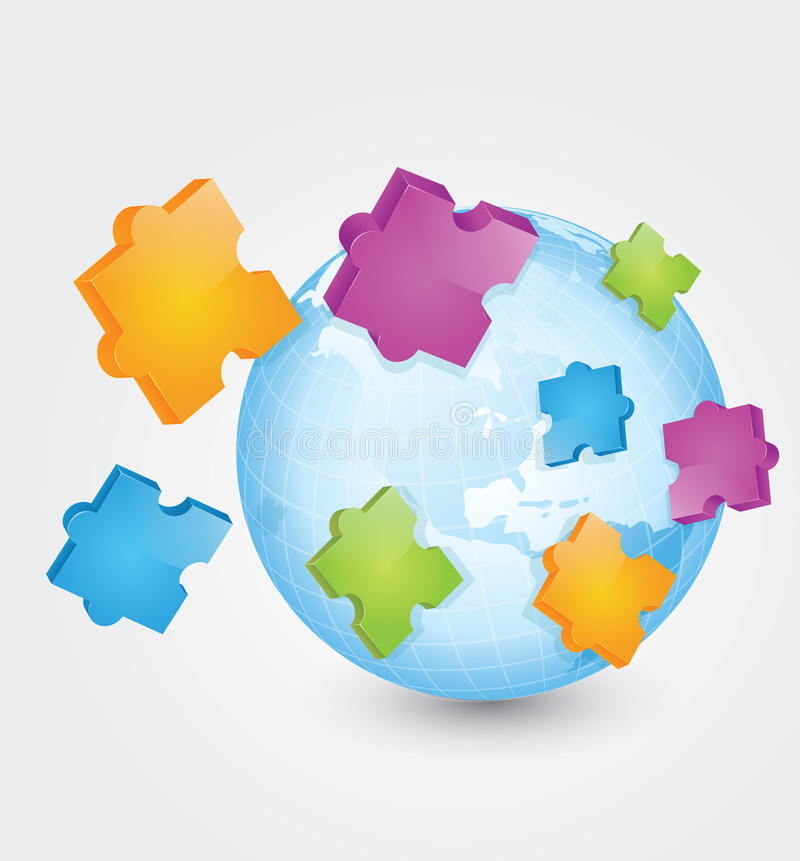 puzzle 3D illustrazione di stock