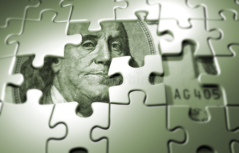 Puzzle. Pieces on dollar background - 3d render stock photos
