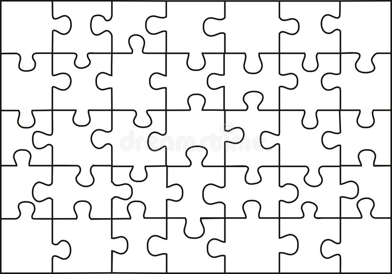 Puzzle. Vector transparent puzzle on withe background royalty free illustration