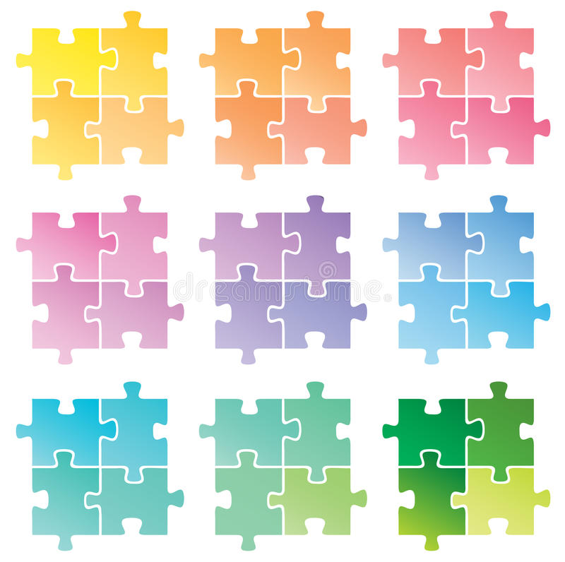 Puzzle. Vector illustration of puzzle .... a lot of colors stock illustration
